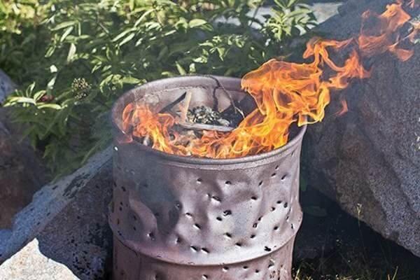 Сжигание отходов в бочке
