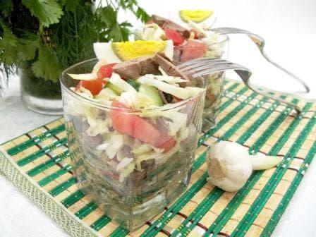 Вкусный рецепт салата с печенью пошагово с фотографиями