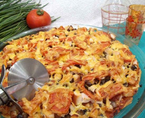 Рецепт пиццы с грибами, сыром и колбасой, проверенный способ
