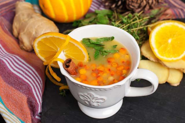 Облепиховый чай с имбирём и лимоном