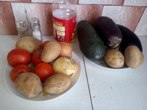 Ингредиенты для диетического рататуя